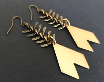 Chevron Fishbone Chain Earrings