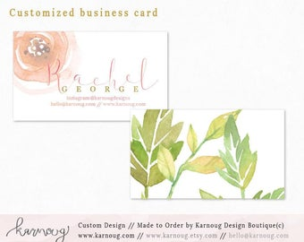 Business Card|Instant Business Cards|Floral Business Cards|Custom Business Cards|Printable Business Cards|Watercolor|Gold|Printable Cards