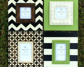 neutral custom wood distressed frame gallery wall grouping | black and white | farmhouse look | greenery color|gift for mom |teen room decor