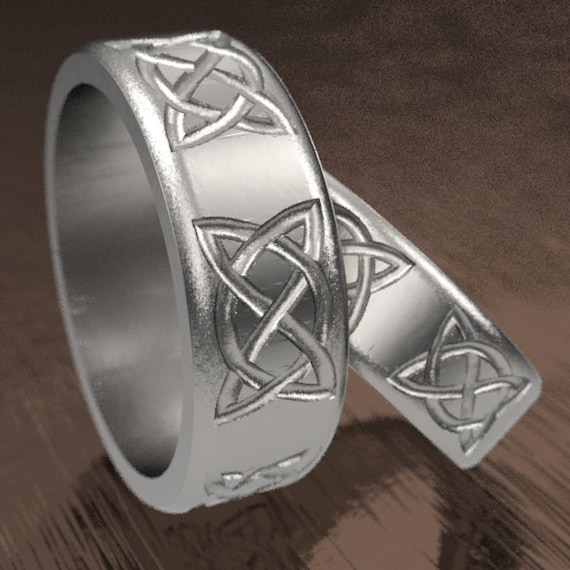 Celtic Ring Set With Dara Knot Ring Woven Design in Sterling Silver, Made in Your Size 1133