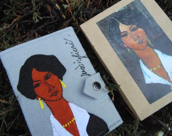 Hand Embroidered Modigliani Passport Cover/ Travel Passport Holder/Hand embroidered Case/Travel Gift