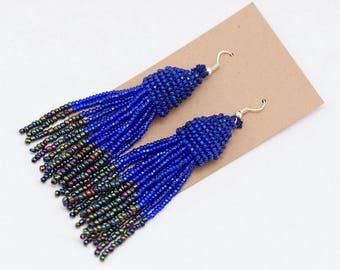 Beaded Tassel Earrings - Cobalt Blue + Midnight Black