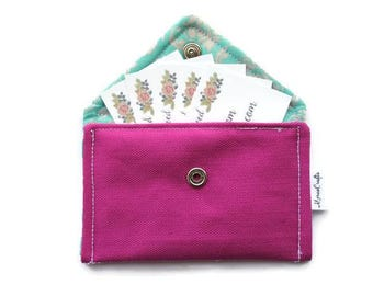 Business Card Organizer - Business Card Case - Card Holder with Snap Closure - Hot Pink Business Card Holder - Pink Wallet