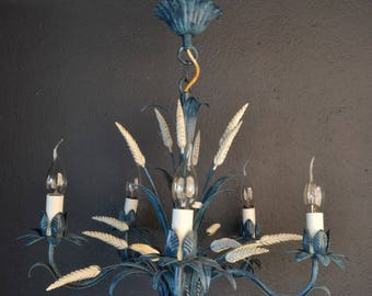 Blue tole chandelier with sheaves of wheat