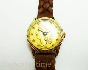 Bradley Coin Ladies Watch 1970's Swiss Made 1 Jewel Manual Movement
