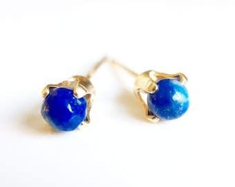 Tiny Lapis Lazuli and Gold Filled Stud Earrings //Lapis Lazuli jewellery //Lapis earrings //Gifts for her //Stud earrings //Gold Earrings