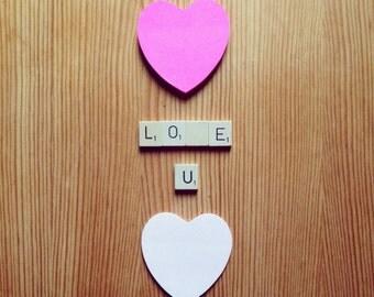 Romantic Scrabble Tile Magnets, Eco Friendly, Love, Valentine, Wedding, Anniversary