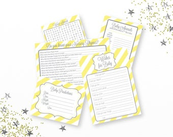 Yellow and Gray Baby Shower Games, Printable Baby Shower Games, Gender Neutral, Word Search, Wishes for Baby,Printable Game,PDF File,Digital
