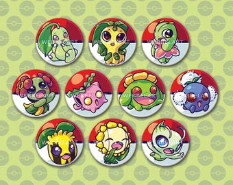 2nd Generation Grass type pokémon 38mm buttons, 1.5 Inch Pins