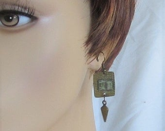 Earrings, square metal with embellishment of metal, bronze dangles, ear wires, B, jewelry