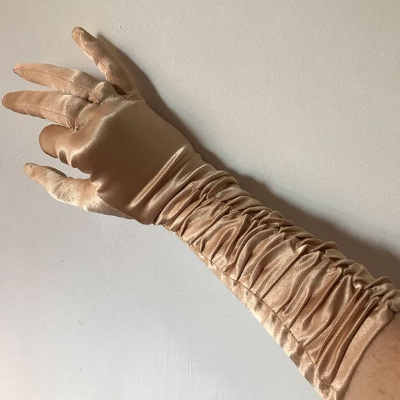 evening gloves pale golden nude mink stretch satin long ruched size 7 7.5 prom ball vintage wedding 1950s 1940s glamour