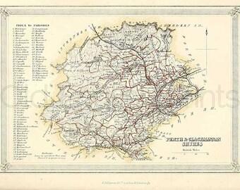 Perth and Clackmannan Shires c.1857 - Antique Scottish County Map of Perth and Clackmannan - 8 x 11 ins PRINT - FREE P&P UK