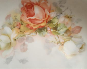 """Porcelain China Bowl Clusters of Roses Silesia 9"""" Bowl White Ground Peach Pink White Florals Roses"""