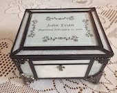 Reserved for Nicole   stained glass baptism memory box