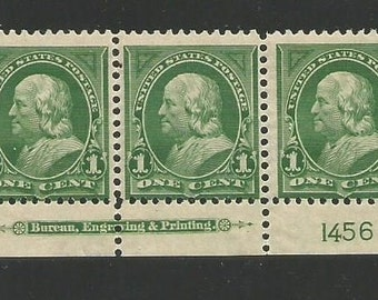 1898 US 3 Stamp Strip Scott 279 Unused Mint Not Hinged United States Forefather Ben Franklin Add to your Collection 1800s American Stamps