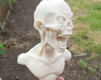 Screaming Zombie Sculpture Figurine - unpainted cast