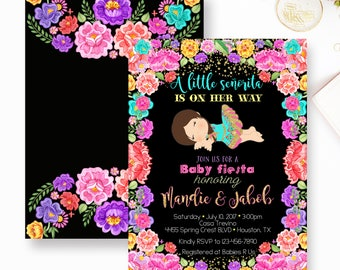 Fiesta Baby Shower Invitation, Mexican Fiesta Baby Shower Invite, Senorita, Fiesta, Floral Fiesta, Fiesta Floral Baby Shower- YOU PRINT