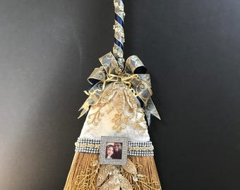 Wedding Broom in Navy, Cream, and Gold