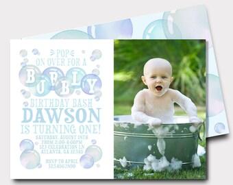 Bubble Birthday Invitation | Bubbles | Bubbly Birthday | First Birthday Invitation | Pop On Over