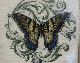 Swallowtail Butterfly Accent or Guest Towels set of 2