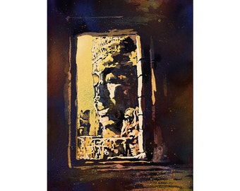 Fine art watercolor of Khmer/Buddhist temple of Bayon at Angkor Wat ruins- Siem Reap, Cambodia.  Watercolor Bayon ruins wall art painting