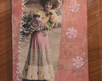 Handmade ~ Vintage Style ~ Gift Card or Money Envelope ~ Winter's Pink Blush