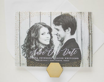 Gold Foil Save the Date, Foil Stamp Announcements, Photo Cards with Foil, Modern Save the Dates with Full Bleed Photo | Shimmer