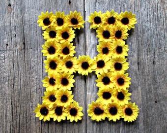 Sunflower Wedding Decor- Initial Wreath Front Door- Floral Monogram Letter Nursery-  Sunflower Wall Decor- Sunflower Party Decorations