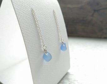 Cornflower blue sea glass & Sterling silver strand earrings