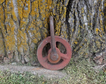 Pulley, all metal pulley, up-cycle supply re-purpose material for Metal art or lighting, garden decor, rustic,  primitive, Yard Art