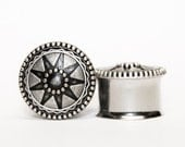 Aztec Sun/Star Plugs, gauges, in Silver and Charcoal    3/4, 7/8