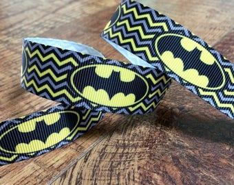 5 yards 7/8 batman ribbon. Batman ribbon, superhero ribbon, grosgrain, ribbon, craft, crafting, sewing, scrapbook, hairbows