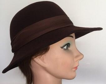 Womens Vintage Brown Felt Fedora Hat