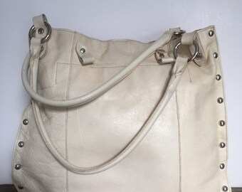 Cream Studded Leather Tote Bag