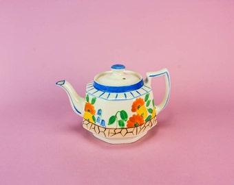Vintage Art Deco Floral Pottery TEAPOT H J Wood Serving Cream Medium Octagonal Retro Unique 1930s English LS
