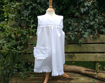 Girls Pinafore, White Apron Cover Over