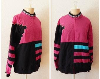 Vintage 80s Windbreaker Black Pink Nu Wave Festival Jacket Medium