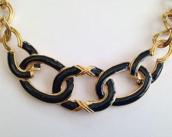 Vintage Monet Goldtone and Navy Enamel Necklace.