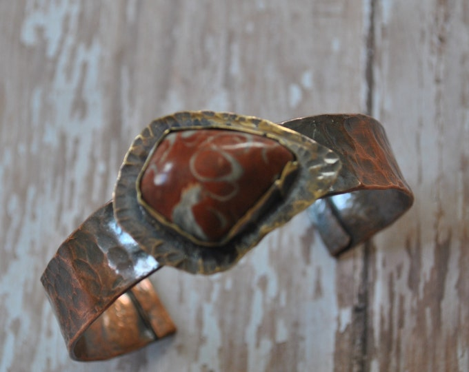 Rustic copper cuff with Red Script stone stone, Hammered copper bracelet, metal work, boho, unisex