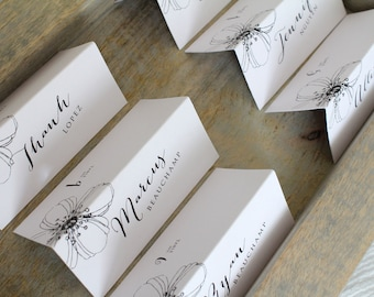 Simple and Elegant Wedding Reception / Rehearsal Dinner / Name and Seat Assignment Place Cards / Folded Tent / Guest