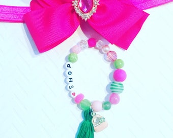 Girl's Personalized Bracelets,I Love To Shop Bracelet,Girl's Pink Purse  Bracelet, Kid's Tassel Bracelets, Girl's Charm Jewelry