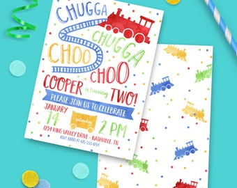 Train Birthday Invitation PRINTED INVITATIONS Boy Trains Birthday Party Invite - 2nd birthday or wording can be changed for any age