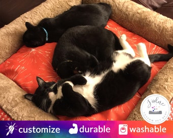 Large Cat Bed | High Bolsters on all 4 sides  |  Orange, Camel, Faux Fur, Cozy Cat Bed | Washable & High Quality!