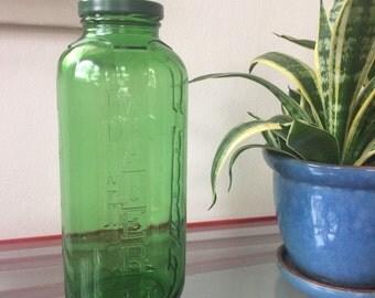 Vintage tall green water juice jar