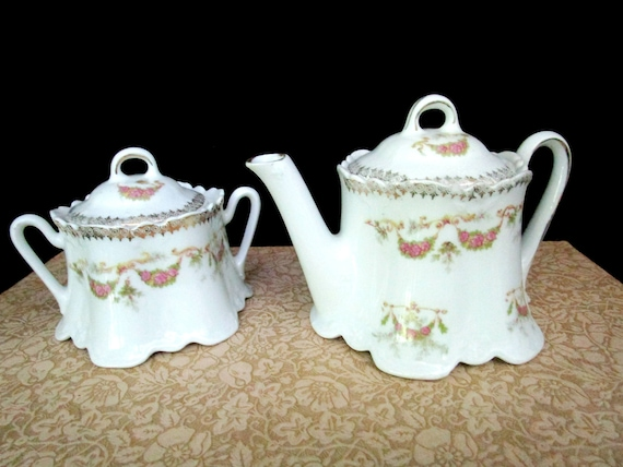 Antique Creamer and Sugar Bowl, Deep Scalloped Edges, Pink Rose Garlands, Cream Pitcher and Lidded Sugar Bowl, Cottage Chic, Farmhouse Decor