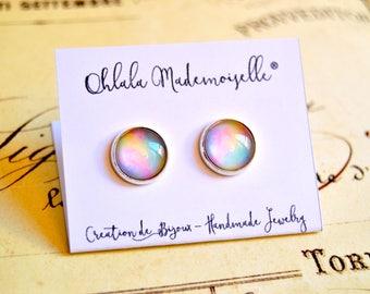 Unicorn praise handmade glass cabochon earrings studs - minimalist earrings, pastel studs, stud earrings, unicorn fart earrings