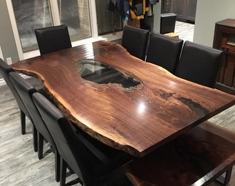 Single Slab Live Edge Black Walnut Tables, Live Edge Maple Single Slab Harvest Table, Live Edge Conference Tables, Boardroom Tables