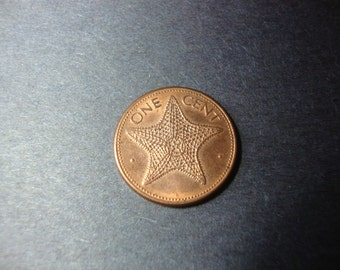 SALE - 1989 Bahamas One Cent Coin - 1 Cent - Starfish - Bahama Islands - Commonwealth - Vintage World Coin - .65 Cent Ship, 1.25 Int'l Ship