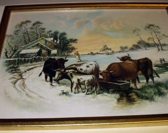 Winter Snow Landscape Picture Woman Farmhouse Cows Drinking Original 1895 Antique Chromolithograph Wood Frame