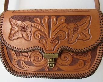 Vintage Tooled Leather Adjustable Handbag / Shoulder Bag